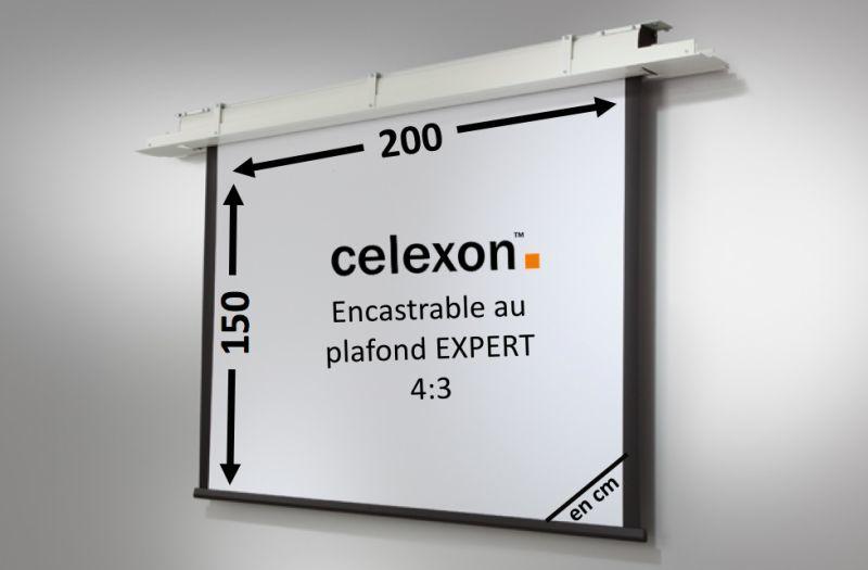 Ecran encastrable au plafond celexon expert motoris 200 x 150 cm achat vente celexon 1090200 - Support videoprojecteur plafond encastrable ...