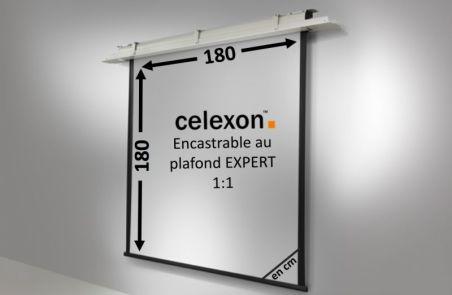 Ecran encastrable au plafond celexon Expert motorisé 180 x 180 cm