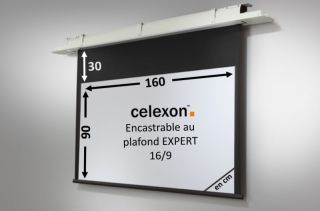 Ecran encastrable au plafond celexon Expert motorisé 160 x 90 cm