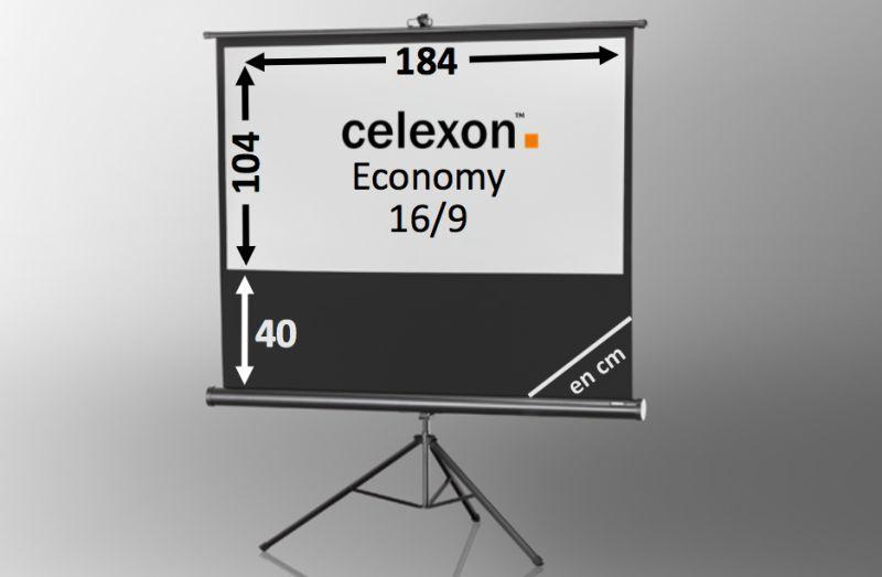 ecran de projection sur pied celexon economy 184 x 104 cm achat vente celexon 1090261. Black Bedroom Furniture Sets. Home Design Ideas