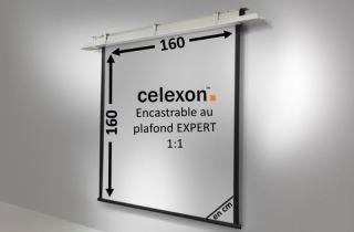 Ecran encastrable au plafond celexon Expert motorisé 160 x 160 cm