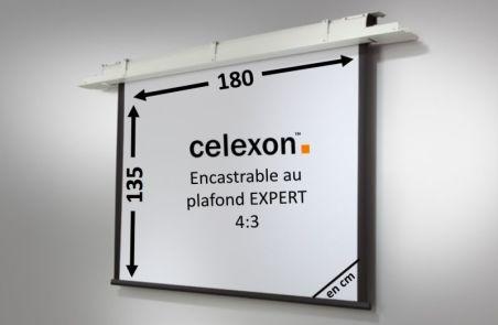 Ecran encastrable au plafond celexon Expert motorisé 180 x 135 cm